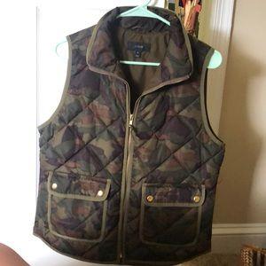 J Crew camo quilted vest